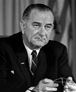 President Lyndon Johnson announces he won't seek re-election in 1968.