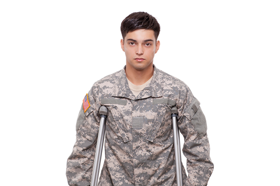 Portrait of a soldier with crutches