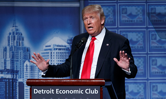 Donald Trump delivers an economic policy speech to the Detroit Economic Club, Monday, Aug. 8, 2016, in Detroit. (AP Photo/Evan Vucci)