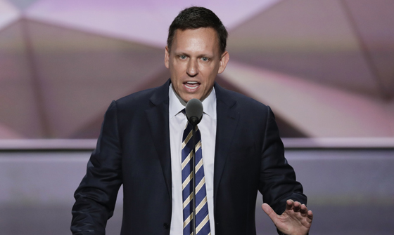 Entrepreneur Peter Thiel speaks during the final day of the Republican National Convention in Cleveland. (AP Photo/J. Scott Applewhite)